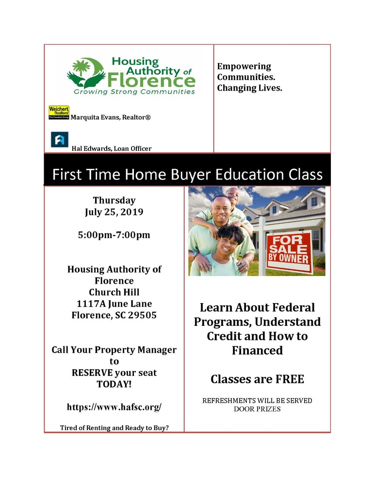First Time Home Buyer Education Class flyer