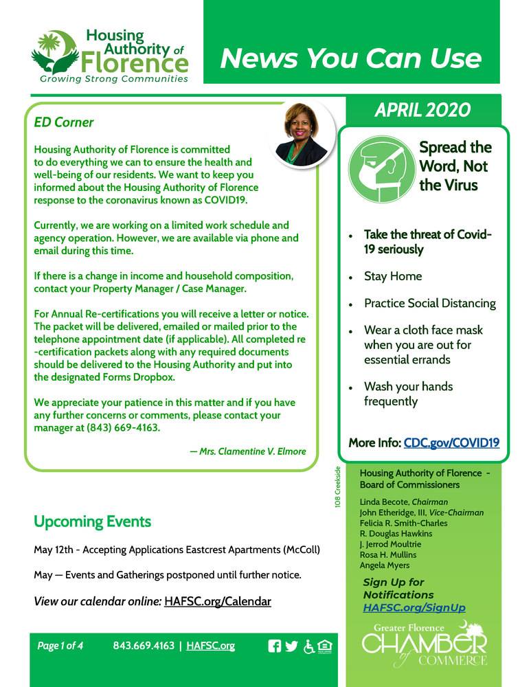 April 2020 E-Newsletter