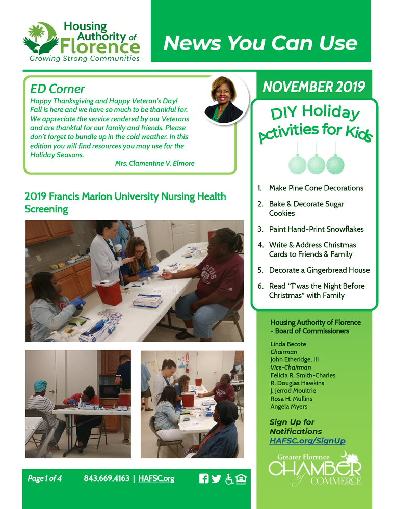 November 2019 Newsletter, see newsletter page for full details