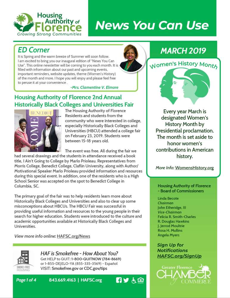 March HAFSC E-Newsletter page 1