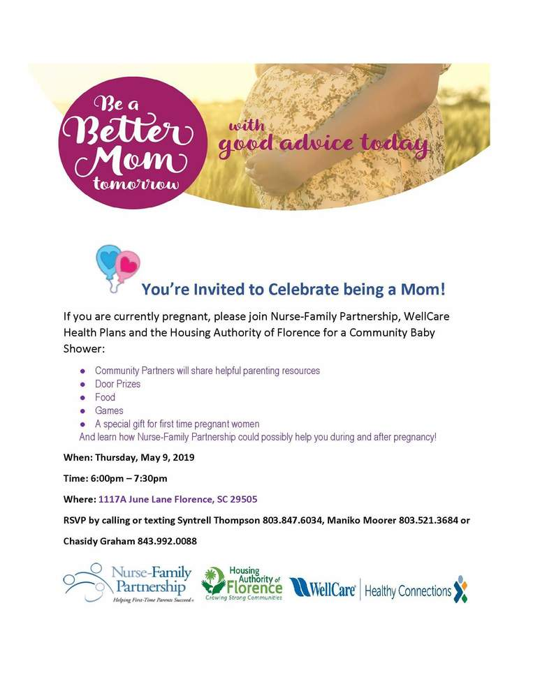 May 9th Community baby shower flyer