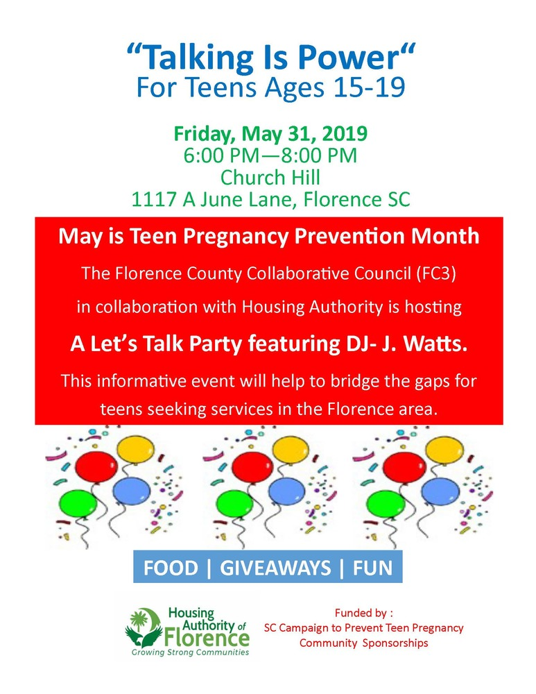 ITS A LETS TALK PARTY - teen pregnancy prevention event flyer