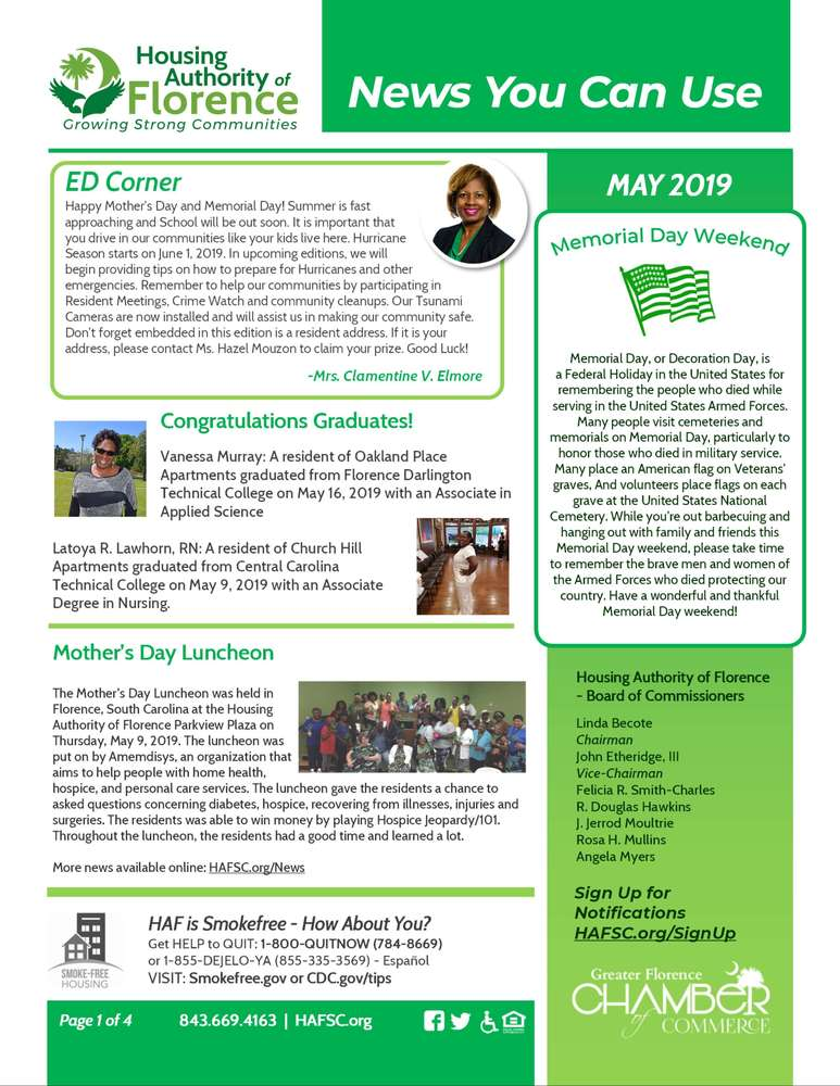 HAFSC May 2019 E-newsletter page 1